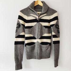 Aritzia TNA Lambswool Gray Cowichan Zip Sweaters